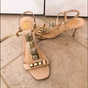 Vince Camuto strappy heels with stone like detail